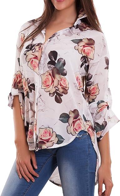 Toocool – Camisa Mujer Camiseta Velata Flores camuflaje cola asimétrica Sexy Nuova as-7656 Bianco Talla única: Amazon.es: Ropa y accesorios