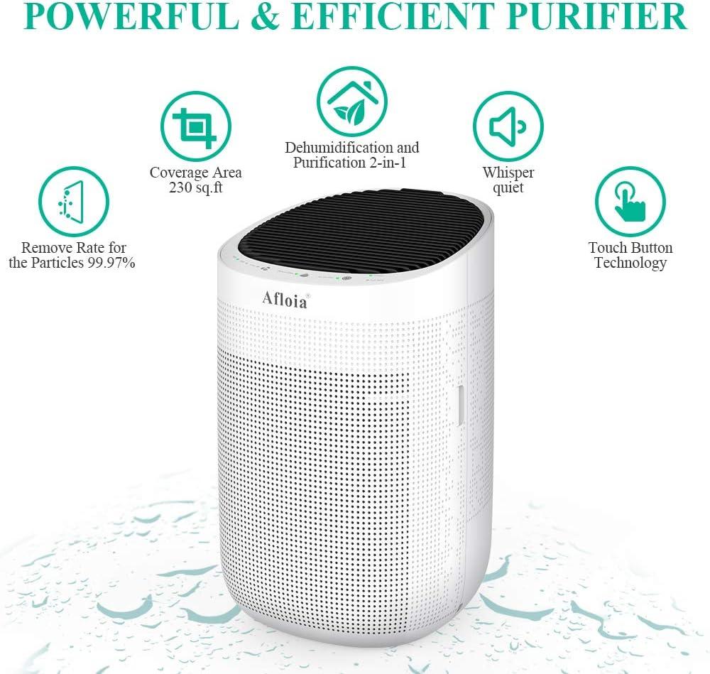 Afloia Dehumidifier for Home,Electric Dehumidifier Capacity Deshumidificador, Quiet Room Dehumidifier Portable Dehumidifier for Bathroom Dorm Room Baby Room RV Crawl Space