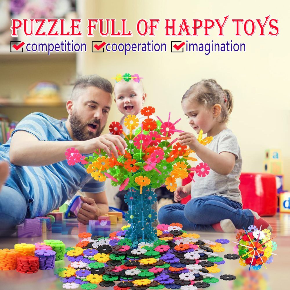 Kids Toys, 500Pcs Snowflakes Connect Interlocking Plastic Discs Early Educational Building Toys, Preschool Games Brain Flakes, Puzzle Blocks Games, Best children's Birthday Gifts for girls boys Review
