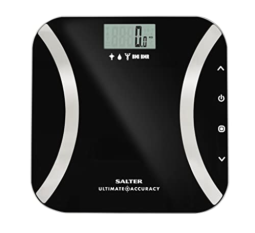 Salter Ultimate Accuracy Digital Analyser Scales - Measure 50g Increments, Step-On Instant Reading of Weight, Body Fat, Water, Lean Mass, BMI, BMR + Athlete Mode, 12 User Memory, 15 Year Guarantee