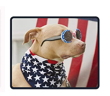 5e058b2145 Amazon.com : Dog Dressed in American Flag Neckerchief and Sunglasses Gaming  Mouse Pad : Office Products