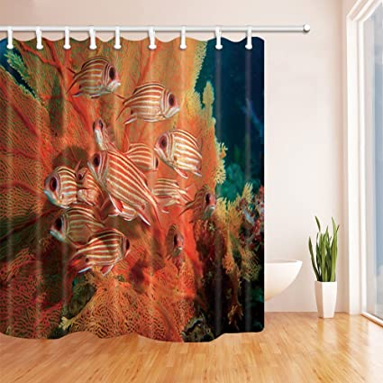 Deep Sea Decor Fish Swim Beside Coral Bath Curtain Polyester Fabric Waterproof Shower 708X70