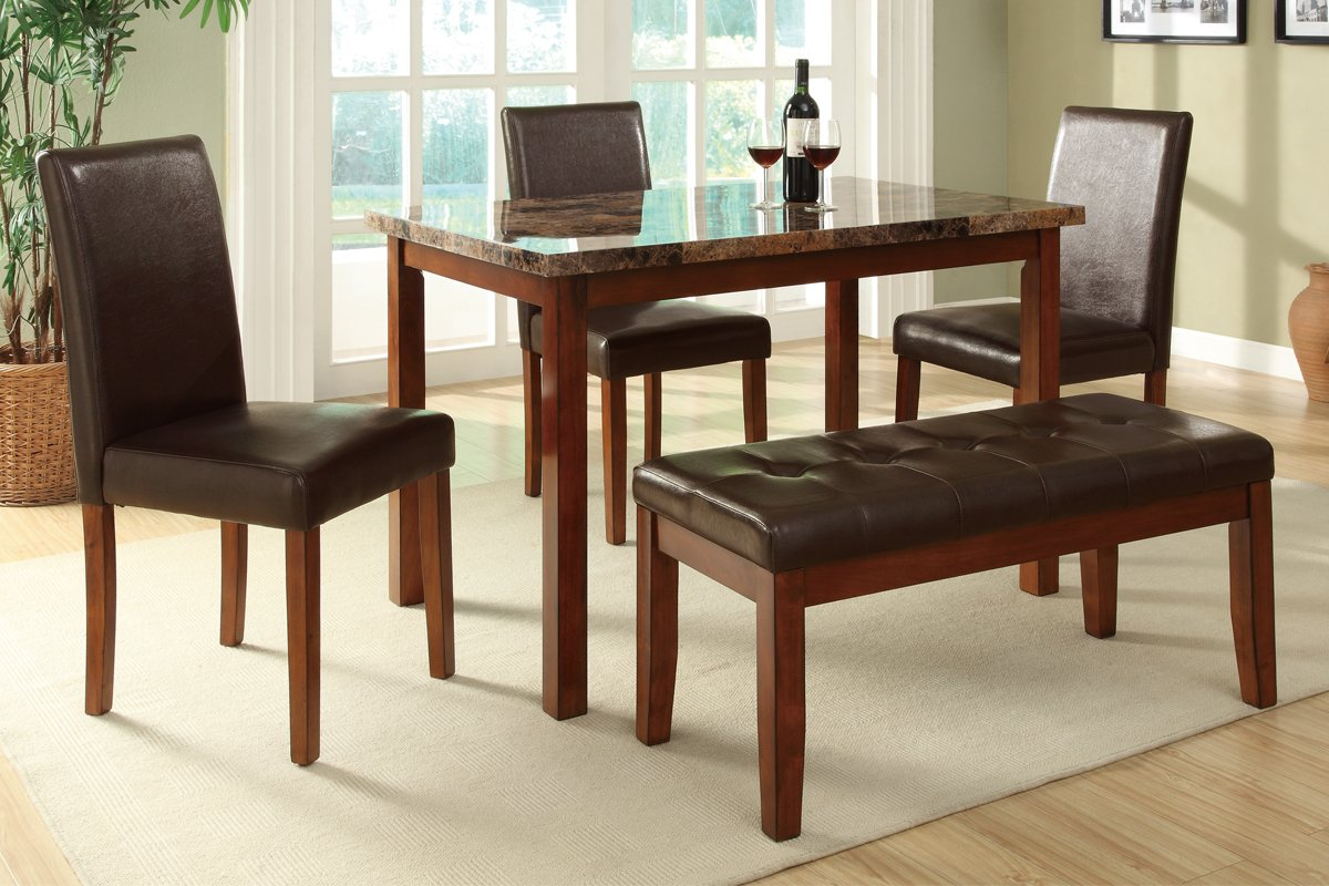 Amazon.com   5pc Casual Dining Set With Marble Top In Medium Oak Finish    Table U0026 Chair Sets