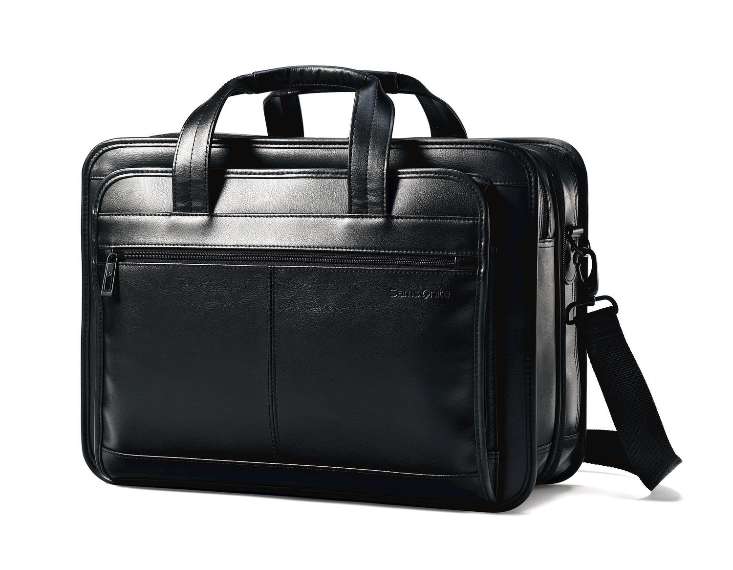 Samsonite Leather Business Cases Expandable Laptop Briefcase in Black
