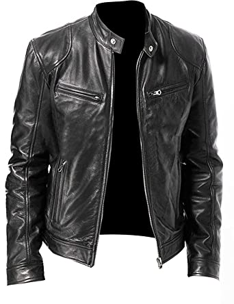 ea064c6f154 CHICAGO-FASHIONS Men Vintage Cafe Racer Biker Retro Motorcycle Genuine Leather  Jacket at Amazon Men s Clothing store