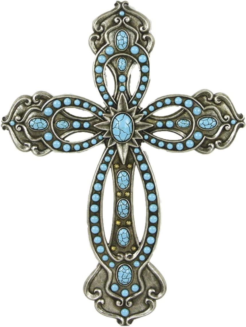 LL Home Cross with Turquoise Silver Tone
