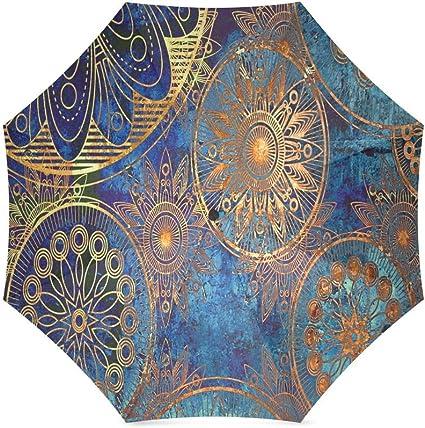 Custom Art deco background Compact Travel Windproof Rainproof Foldable Umbrella
