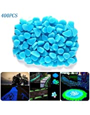 400pcs Glow in The Dark Pebbles Rocks Stones for Indoor Outdoor Decor Garden Walkways Path Fish Tank Aquarium DIY Decorations.Solar or LED Charged