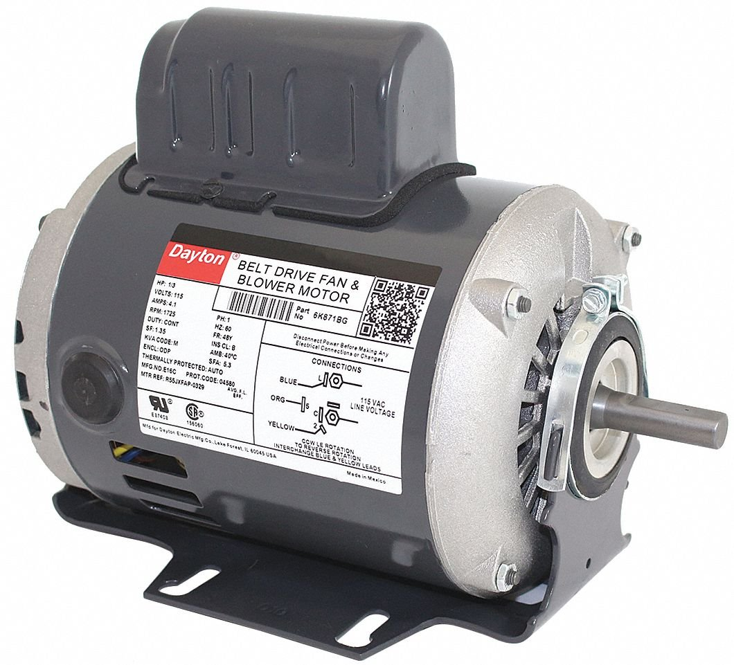 1/3 HP Belt Drive Motor, Split-Phase Start/Capacitor-Run, 1725 Nameplate RPM, 115 Voltage, Frame 48