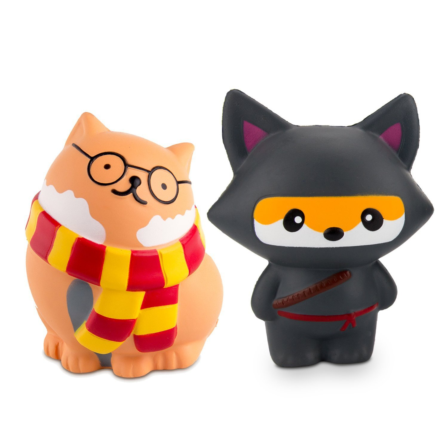 BeYumi Slow Rising Toy, Glasses Cat & Ninja Fox Squishy Toy, Cream Scented Simulation Cute Animals Toys Gift for Kids Lovely Stress Relief Toy