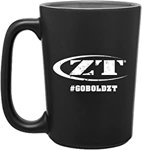 Zero Tolerance Single Wall Ceramic Mug; 15 oz; Bold Matte Exterior with Glossy Interior; Versatile and Durable Hot Beverage Mug for Home or Outdoors; White ZT Logo and Slogan; Microwave Safe