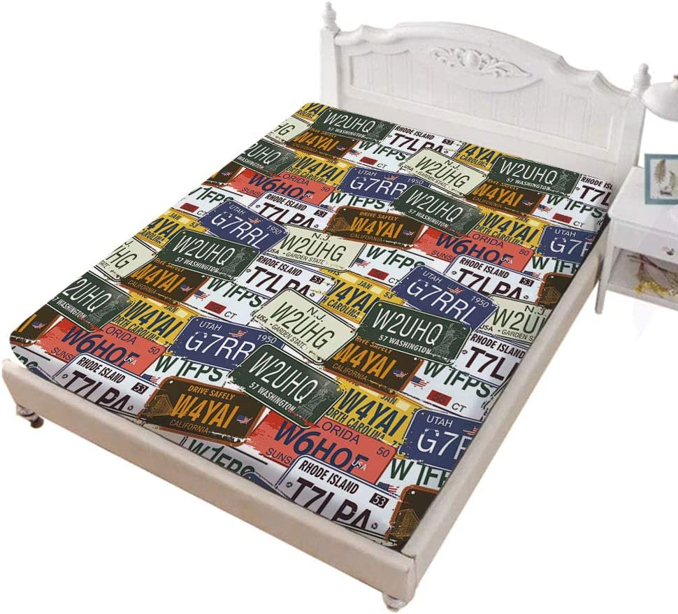 Soft Comfortable Top Sheet Decorative Bedding 1 Piece Retro American Auto License Plates Utah Washington Rhode Island North Carolina Print Multicolor Twin Size Ambesonne USA Flat Sheet