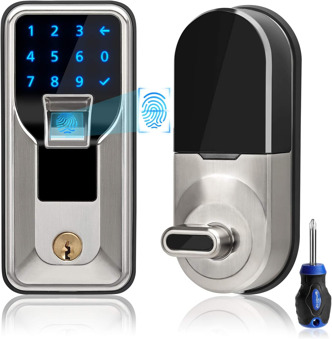 iMagic Electronic Fingerprint Deadbolt, Keypad Entry Door Lock, LED Touch Screen Keypad Lock with Built-in Alarm, One-Touch Locking and Back up Key, Easy to Install for Home and Office (Satin Nickel)