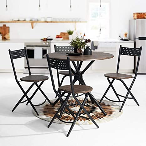 Enjoyable 5Pcs Dining Set Nordic Minimalist Patio Table Chair Set Mid Century Modern Outdoor Lawn Garden Table Set With Natural Walnut Round Tabletopmetal Unemploymentrelief Wooden Chair Designs For Living Room Unemploymentrelieforg