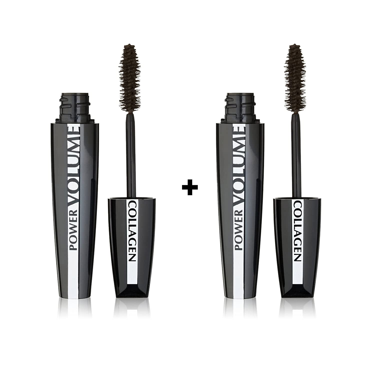 (2 Pack) L'Oreal Paris Voluminous Power Volume 24 Hour Mascara Black Brown