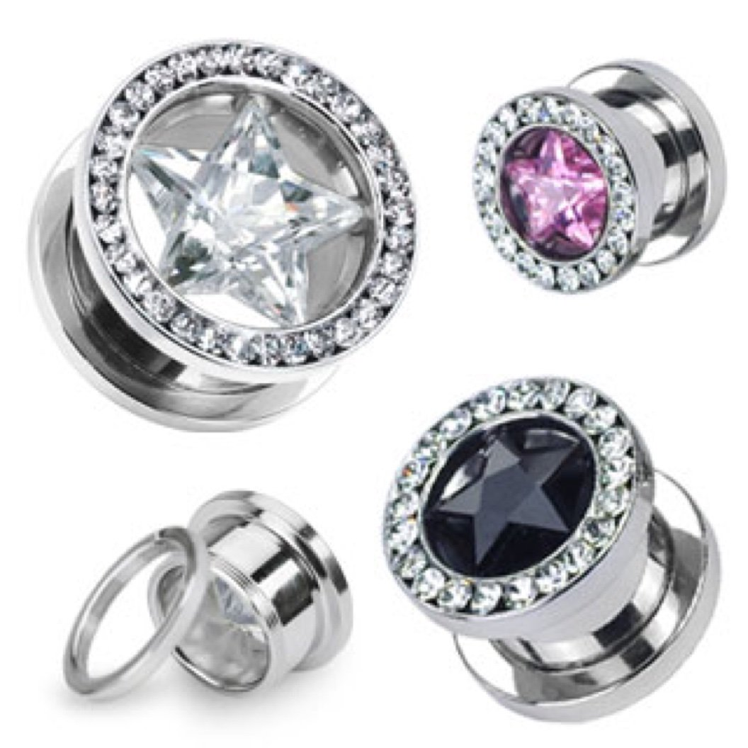 Dynamique Pair of Star CZ and Multi-Gemmed Rim 316L Surgical Stainless Steel Screw Fit Hollow Tunnels