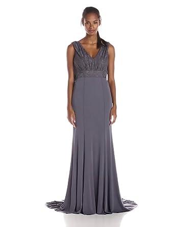 Amazon.com: Vera Wang Women\'s Deep V Lace Bodice Long Gown: Clothing