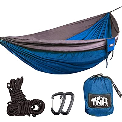 TNH Outdoors Rakaia Designs King Sized Single Camping Hammocks - Lightweight Nylon Portable Hammock, Best XL Parachute Hammock for Backpacking, Camping, Hiking, Beach with Free Heavy Duty Carabiner: Sports & Outdoors