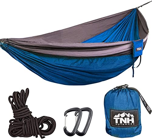 TNH Outdoors Rakaia Designs King Sized Single Camping Hammocks – Lightweight Nylon Portable Hammock, Best XL Parachute Hammock for Backpacking, Camping, Hiking, Beach with Free Heavy Duty Carabiner