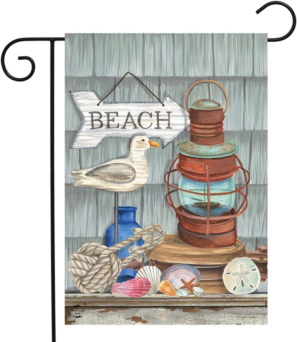"Briarwood Lane Beachy Vibes Summer Garden Flag Nautical Rustic Lantern 12.5""x18"""