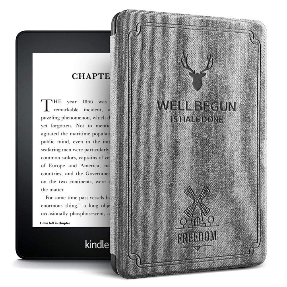 """Robustrion Ultra Slim Smart Flip Case Cover for All New 6"""" Amazon Kindle 10th Generation 2019 Cover - Deer Grey"""