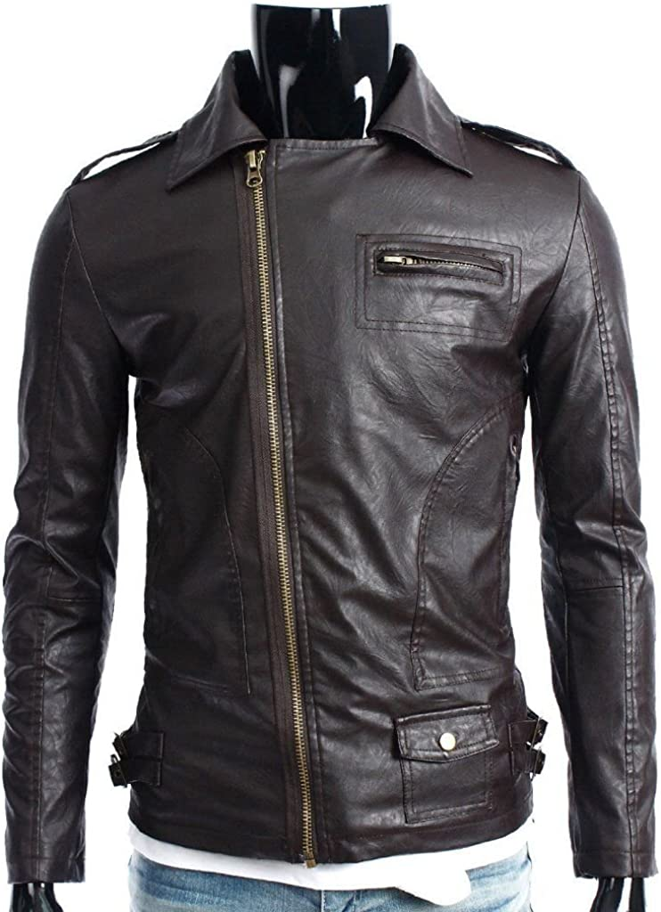 brandMe Mens Genuine Leather Pure Lambskin Biker Jacket MM052