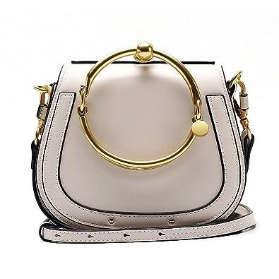 b96e1ca842 11 Colors NEW Ring Handle Luxury Handbags Women Bags Designer Rivet Hoop  Saddle Split Leather Crossbody