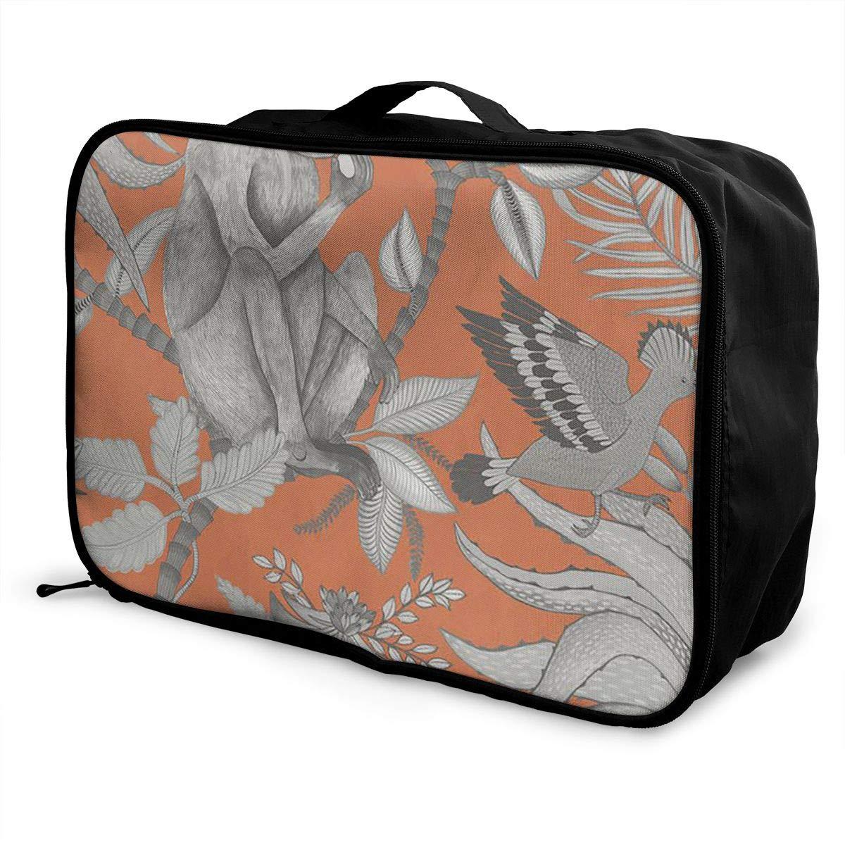 Travel Luggage Duffle Bag Lightweight Portable Handbag Monkey Bird Orange Print Large Capacity Waterproof Foldable Storage Tote