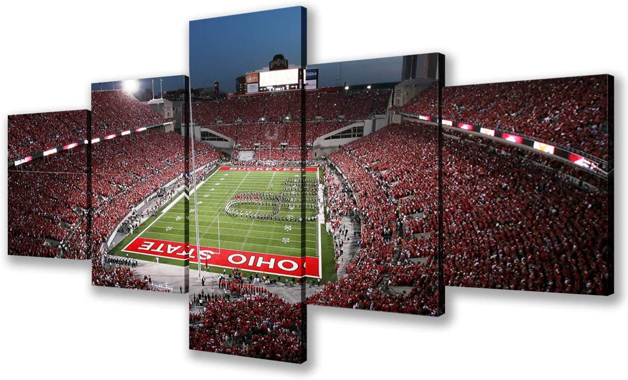 Wall Art Decor Pictures for MLB Living Room Ohio Stadium Paintings American Football Contemporary Artwork 5 Pieces Canvas Home Decor Framed Giclee Gallery-wrapped Stretched Ready to Hang(50''Wx24''H)