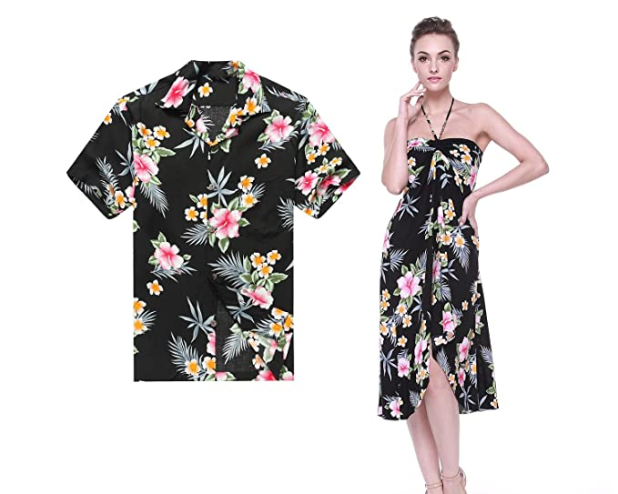 1fcbab7a4e4 Couple Matching Hawaiian Luau Cruise Party Outfit Shirt Dress in Hibiscus  Black Men 2XL Women S