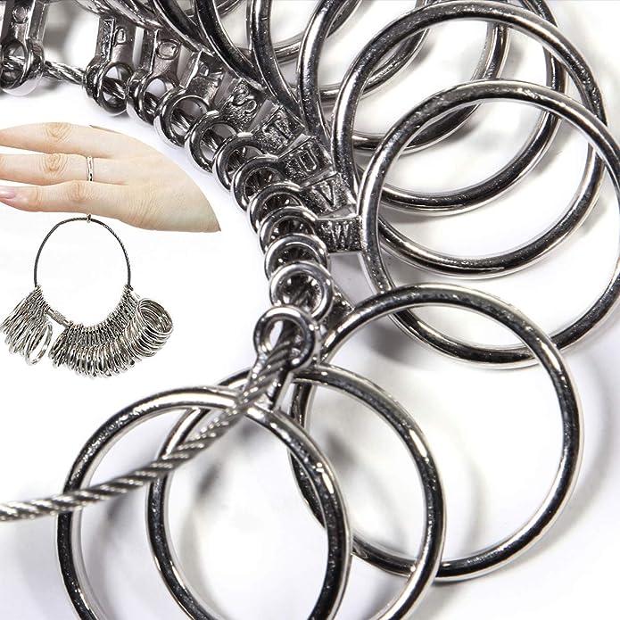 DoGeek Medidor Anillos Ring Sizer para Medir Dedos de Tamaño para Anillos Tamaños AZ Metal/Acero/plástico