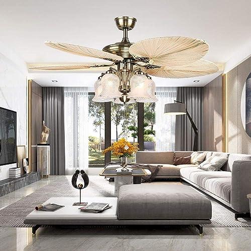 LuxureFan 52Inch Palm Ceiling Fan Lights 3 Speed Remote Premium Light Fixtures 5 Lights 5 Palm Blades Tropical Ceiling Fans Decoration Home Restaurant