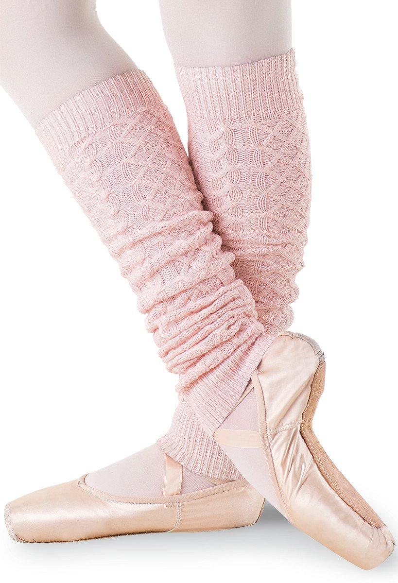 Balera Dance Leg Warmers Cable Knit Ballet Pink CHLD