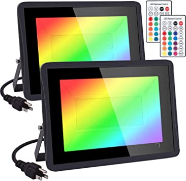 RGB Flood Light 1000W Equivalent 2 Pack 100W Color Changing Flood Light remote