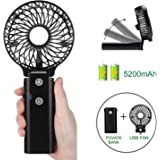 COMLIFE Handheld Fan with 5200mA Power Bank, Rechargeable Battery Operated Fan with 5-20 Hours Working Time,3 Speeds,Strong Airflow, Foldable Design, for Indoor and Outdoor Usage