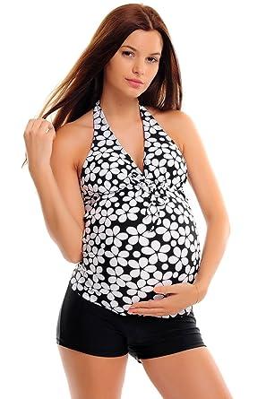 Attraktiver Neckholder Schwangerschafts-Tankini mit Hotpants/ Bikinihose im individualen  Look / Octopus / Umstands-Tankini / verschiedene Farben f3289