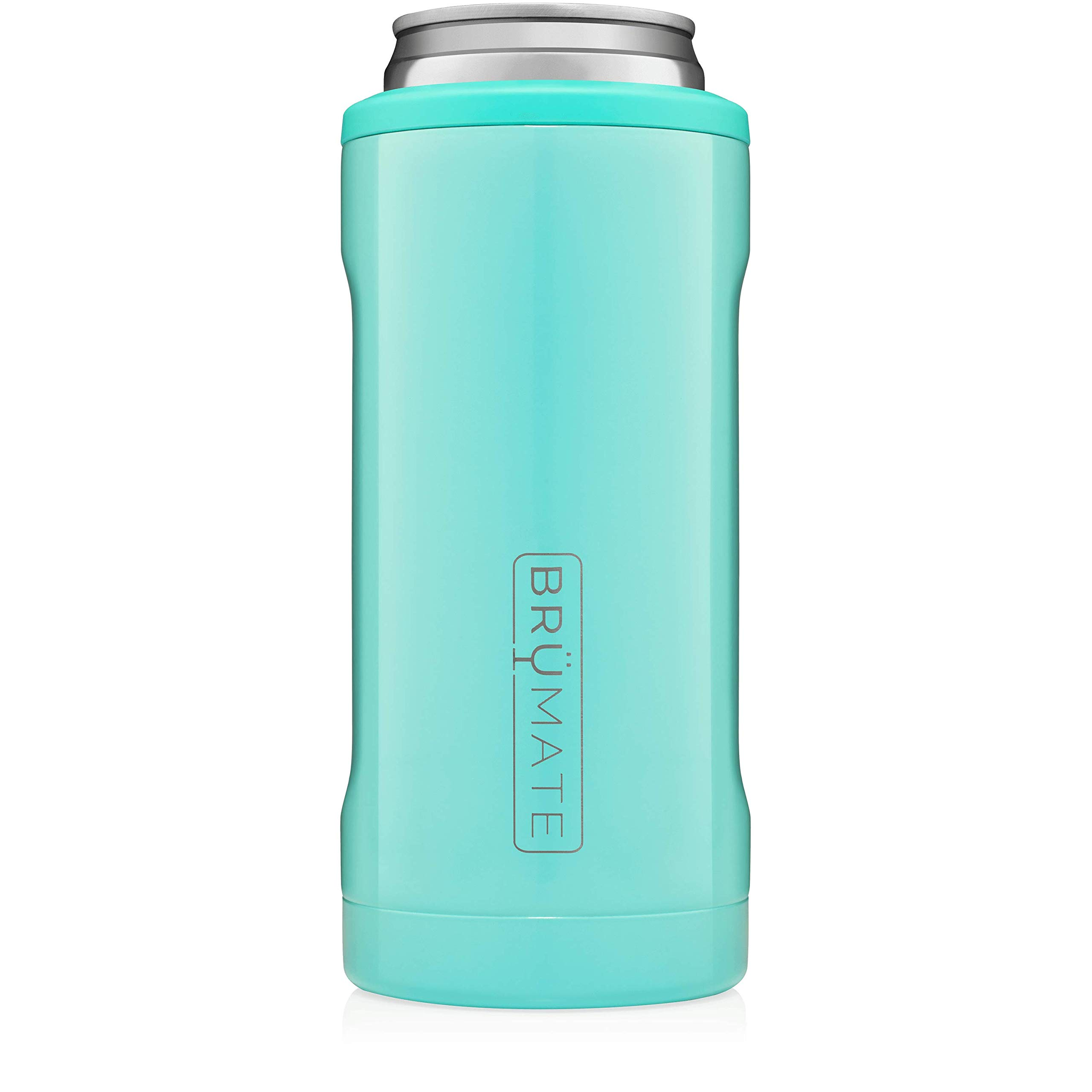 BrüMate Hopsulator Slim Double-walled Stainless Steel Insulated Can Cooler for 12 Oz Slim Cans (Aqua) by BrüMate