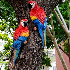 Xinzi Parrot Statues Garden Ornaments Home Decorations Cute Lifelike DIY Wall Mounted Bonsai Yard Sculptures Landscape Accessories(red Right)