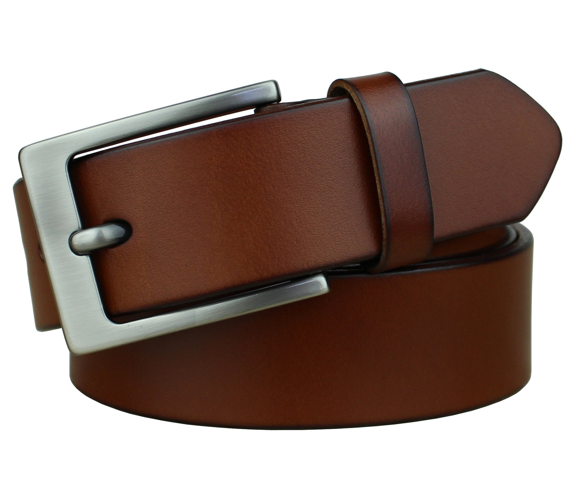 Bullko Mens Casual Genuine Leather Dress Belt Jeans Classic Brown 34-36inch