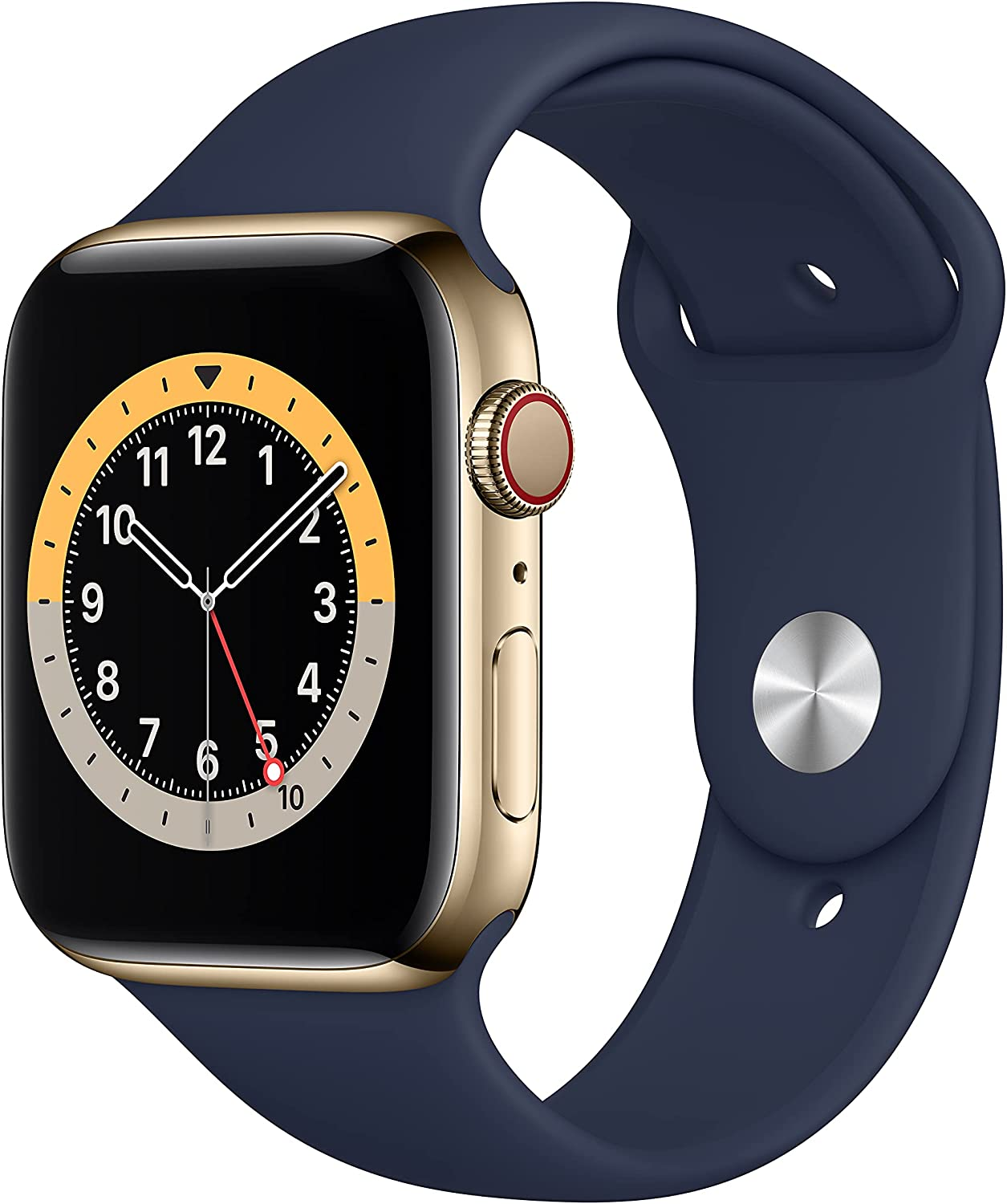 New Apple Watch Series 6 (GPS + Cellular, 44mm) - Gold Stainless Steel Case with Deep Navy Sport Band