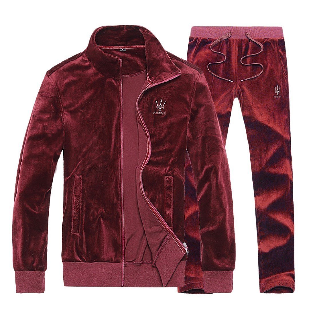 Nicelly Mens Plus Size Leisure Comfort Velvet Jogger Tracksuit Set