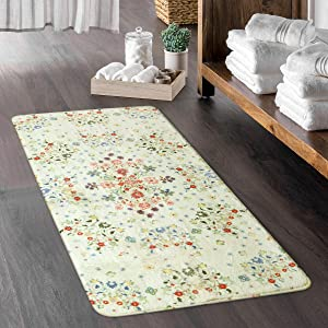 Uphome Beige Rectangle Area Rugs Rustic Floral Throw Rugs Contemporary Cute Country Collection Style Floor Carpet Non-Slip Washable Accent Rug for Runner Living Room Sofa Kitchen Porch Home Decor 2X4