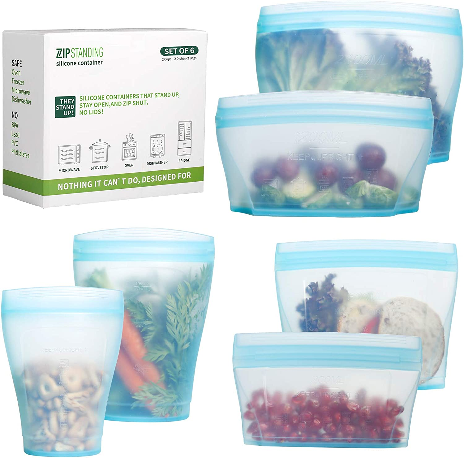 Zip Standing Reusable food Silicone Containers - Complete SET with 2 Cups, 2 Dishes, 2 Storage Bags. Larger Capacity, Dishwasher, Microwave, Freezer Safe. Healthy Food Grade.