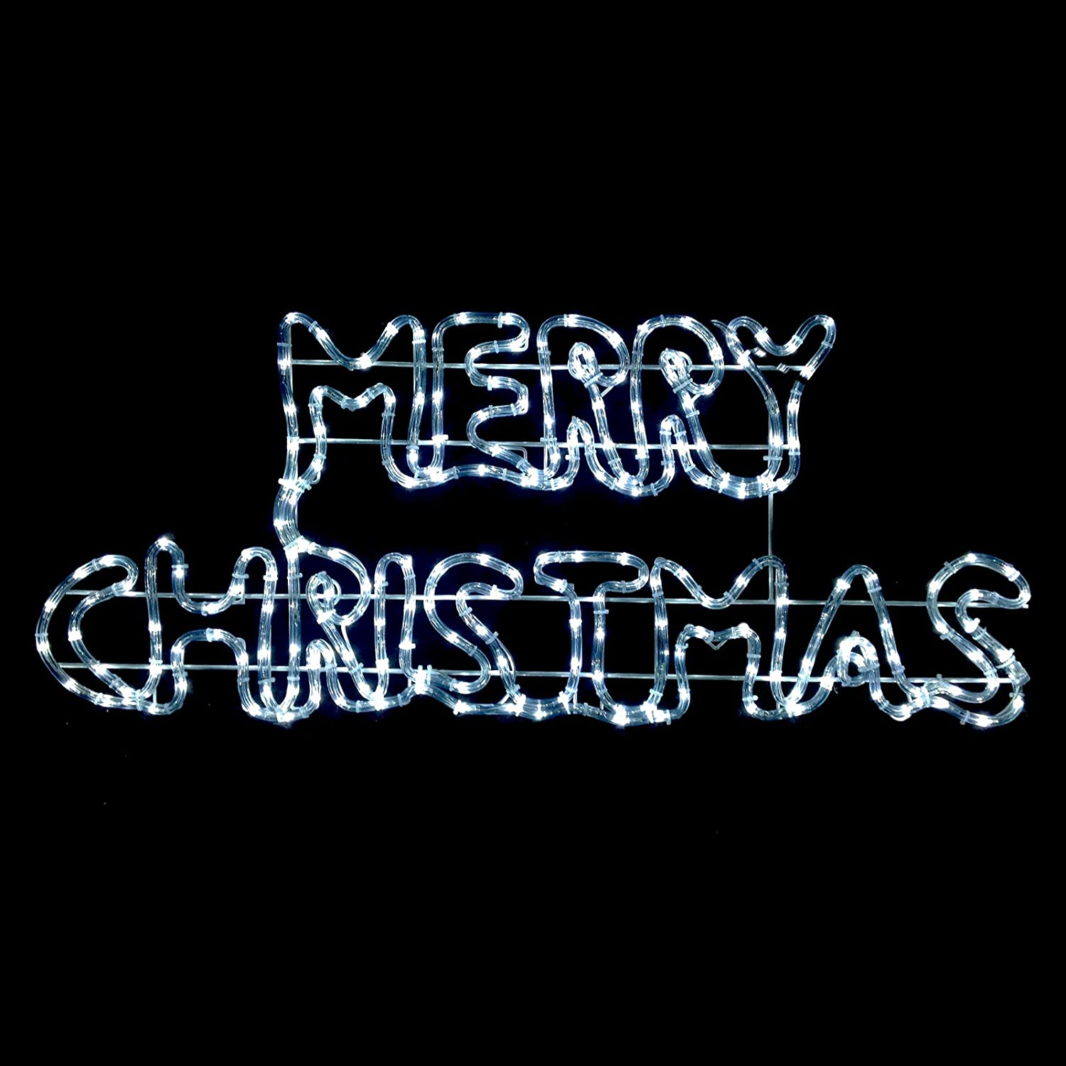 Twinkling White LED Merry Christmas Rope Light Sign Decoration  Indoor/Outdoor
