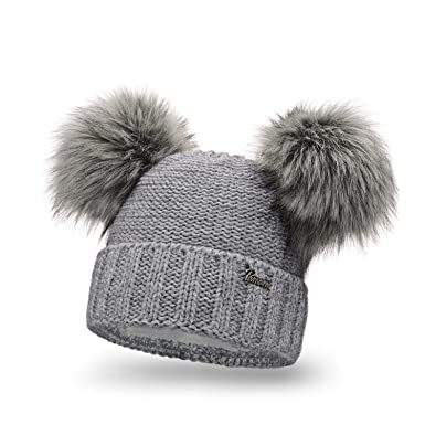 PaMaMi Ladies Winter Hat Caps Beanie with Double Two Pom Pom Skin-Friendly  Winter be1d6fabf66
