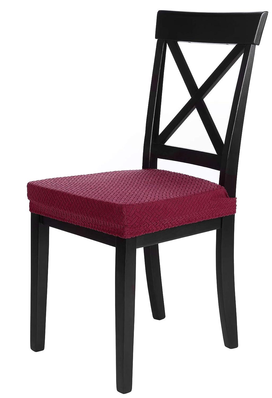 SCHEFFLER-Home Luna 2 Fundas para Asiento de sillas, Estirable Cubiertas, Chenilla Funda con Banda elástica, Rojo