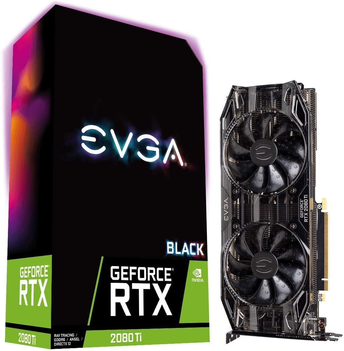 EVGA GeForce RTX 2080 Ti Black Edition Gaming, 11GB GDDR6, Dual HDB Fans & RGB LED Graphics Card 11G-P4-2281-KR (Renewed)