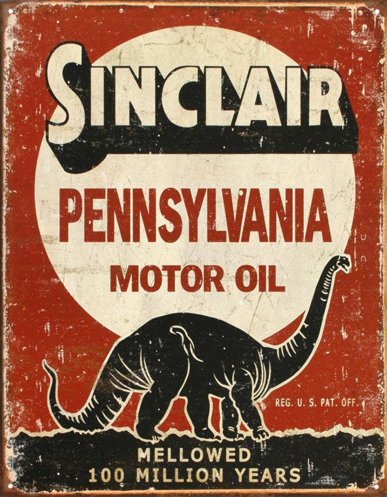 Sinclair Mellowed 100 Million Years Tin Sign 13 x 16in Desperate 1741