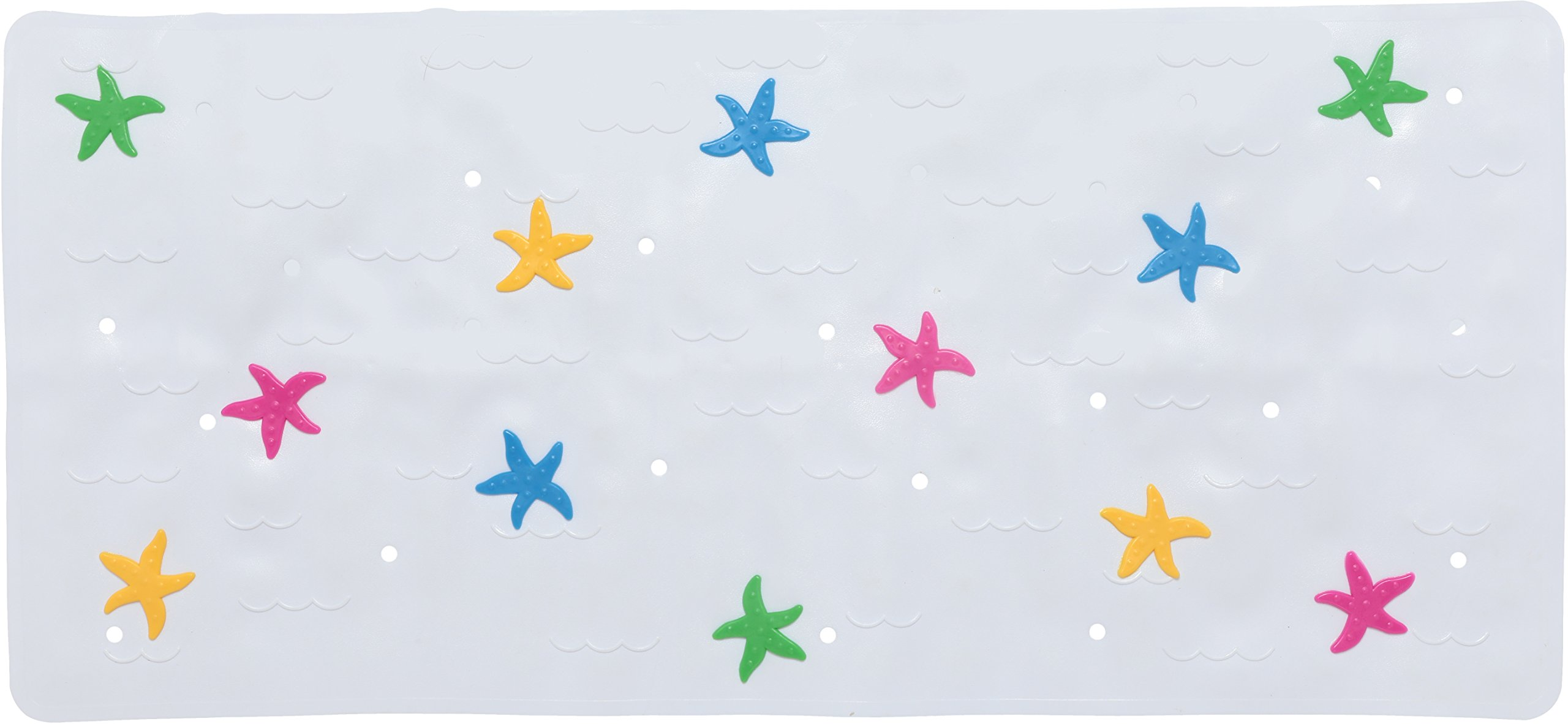 Babykin Baby Bath Mat Anti Slip Mildew Resistant & Lead Free PVC, 30.5 x 14.25, Starfish