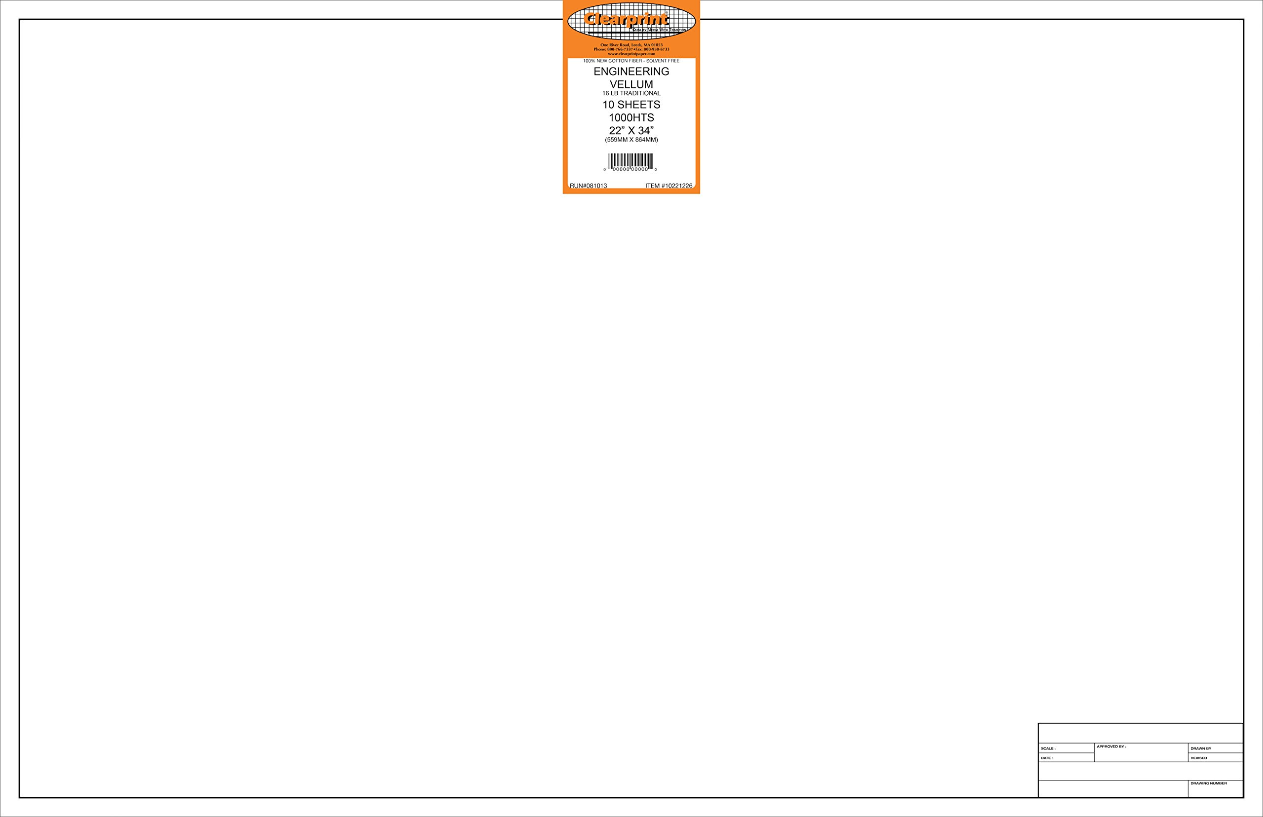 10 Sheets Per Pack Translucent White 100/% Cotton Clearprint 1000H Design Vellum Sheets with Engineer Title Block 8-1//2 x 11 Inches 10221210